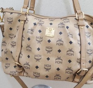 MCM Beige 2 Way sling and Tote